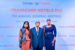 L-R: Managing Director/CEO Transcorp Hotels Plc, Mrs Dupe Olusola; Chairman Transcorp Hotels Plc, Mr Emmanuel Nnorom; and President/GCEO Transnational Corporation of Nigeria (Transcorp) at the 7th Annual General Meeting (AGM) of Transcorp Hotels Plc. on Monday.