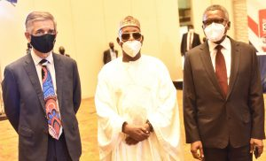 L-R: Group Managing Director/CEO, Dangote Cement Plc, Michel Puchercos;  Dr. Faruk Umar, Shareholder and Chairman, Dangote Cement Plc, Aliko Dangote during the 12th Annual General Meeting (AGM) of Dangote Cement Plc, held in Lagos on Wednesday, May 26, 2021