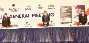 L-R: Chairman, Dangote Cement Plc, Aliko Dangote; Group Managing Director/CEO, Dangote Cement Plc, Michel Puchercos and Non-Executive Director, Dangote Cement Plc, Olakunle Alake  during the 12th Annual General Meeting (AGM) of Dangote Cement Plc, held in Lagos on Wednesday, May 26, 2021