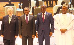 """L-R: Former VDMA (German Mechanical Engineering Industry Association) President and Initiator of the VDMA Initiative """"Skilled Workers in Africa"""", Dr. Reinhold Festge; Chairman, Aliko Dangote Foundation, Aliko Dangote; Lagos State Governor, Babajide Sanwo-Olu; and Deputy Governor of Kogi State, Edward David Onoja, at the Aliko Dangote Foundation-VDMA Technical Training Programme """"tagged: Nigerian Industry meets German Engineering) launch in Lagos on Wednesday, June 2, 2021"""