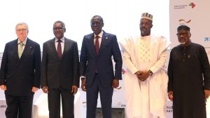 """: L-R: Former VDMA (German Mechanical Engineering Industry Association) President and Initiator of the VDMA Initiative """"Skilled Workers in Africa"""", Dr. Reinhold Festge; Chairman, Aliko Dangote Foundation, Aliko Dangote; Lagos State Governor, Babajide Sanwo-Olu; Deputy Governor of Kogi State, Edward David Onoja; and President, Manufacturers Association of Nigeria, Engr. Ahmed Mansur, at the Aliko Dangote Foundation-VDMA Technical Training Programme """"tagged: Nigerian Industry meets German Engineering) launch in Lagos on Wednesday, June 2, 2021"""