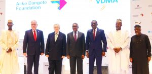 """L-R: Immediate Past Executive Secretary/CEO, National Board for Technical Education, Engr ADK Muhammad; Consul General, the Federal Republic of Germany to the Federal Republic of Nigeria, Dr. Stefan Traumann; Former VDMA (German Mechanical Engineering Industry Association) President and Initiator of the VDMA Initiative """"Skilled Workers in Africa"""", Dr. Reinhold Festge; Chairman, Aliko Dangote Foundation, Aliko Dangote; Lagos State Governor, Babajide Sanwo-Olu; Deputy Governor of Kogi State, Edward David Onoja; and President, Manufacturers Association of Nigeria, Engr. Ahmed Mansur, at the Aliko Dangote Foundation-VDMA Technical Training Programme """"tagged: Nigerian Industry meets German Engineering) launch in Lagos on Wednesday, June 2, 2021"""