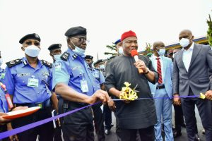 Imo State Governor, Senator Hope Uzodimma (left) receives a survenir from the Imo State Commissioner of Police, Mr. Abutu Yaro (right), when the Governor paid a condolence visit to the Police Command Headquarters, Owerri on Tuesday