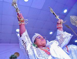 Princess kolade raising the staff of office