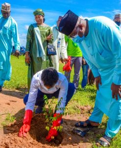 Mr. Bishesh Ranjan Jha, Business Head, Olam Fleet, Crown Flour Mill, launching Crown Flour Mill's Tree Planting Campaign at the Bayero University Kano, on Friday, August 27, 2021.