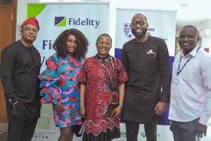 L-R: Emmanuel Nwalor, Team Member, Export and Agriculture Division, Fidelity Bank PLC; Ibukunoluwa Toluwalase, Business Management Consultant and Participant, Fidelity Export Management Program (EMP) 11; Grace Omolori-Okoya; Executive Vice-Chairman, Slavabogu and Participant, Fidelity EMP 11; Isaiah Ndukwe, Divisional Head, Export and Agriculture, Fidelity Bank PLC; and Ogunfeso Yemi; Senior Accountant, Slavabogu and Participant, Fidelity EMP 11 at EMP 11 powered by Fidelity Bank Plc held at the Lagos Business School recently.