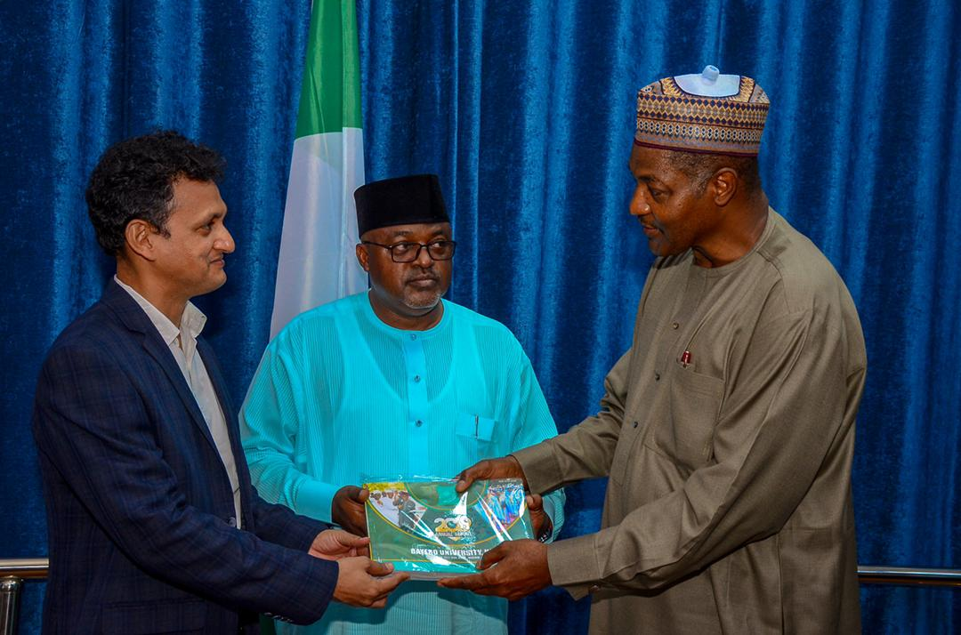 L-R: Mr. Bishesh Ranjan Jha, Business Head, Olam Fleet; Alhaji Datti Danjuma, Head, Human Resources, both of Crown Flour Mill being welcomed by the Vice-Chancellor, Bayero University Kano, Professor Sagir Adamu Abbas at the launch of CFM's Tree Planting Campaign at BUK on Friday, August 27, 2021.
