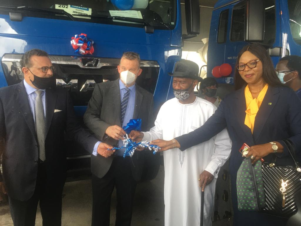 R-L: Mother Dan-Egwu, Regional Head, Lagos Mainland, Lagos Mainland Zone of Heritage Bank Plc; Henry Agbamu, Chairman of SCOA Nigeria Plc; MD of Julius Berger Nigeria Plc, represented by Ralph Brendicke and GMD/CEO of SCOA Nigeria Plc, Dr. Massad Boulos, during the Official Handover Ceremony of State-of-the-Art Man Trucks and Wirtgen Equipment to Julius Berger Nigeria Plc with Heritage Bank being one of the lead financiers, weekend in Lagos.