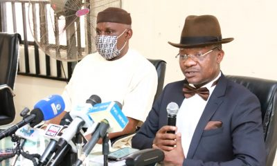 Delta State Commissioner for Information, Mr. Charles Aniagwu (right) and the Chief Press Secretary to the Governor, Mr. Olisa Ifeajika while briefing journalists in Asaba on  Monday. PIX: JIBUNOR SAMUEL